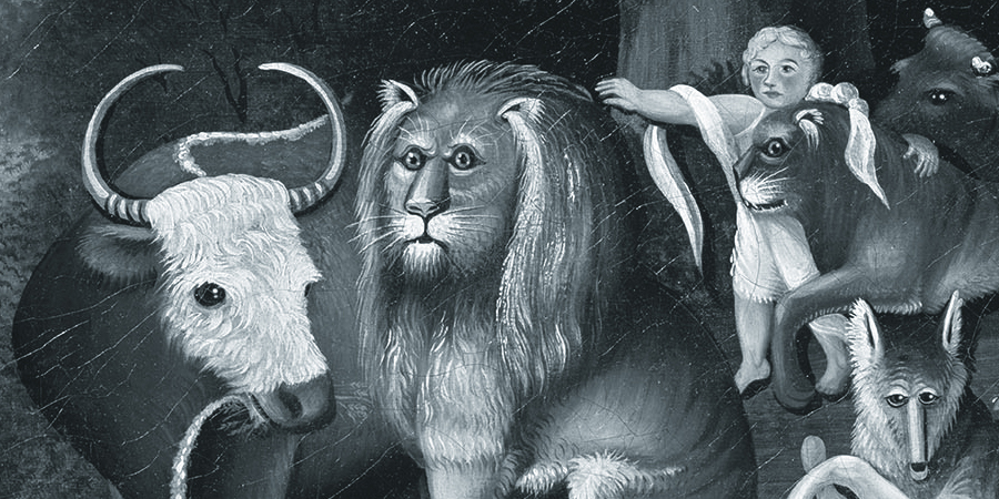 "Detail from Edward Hicks' painting ""The Peaceable Kingdom"" showing an ox, a wolf, a lion and what may be a seafurring feline with a child."