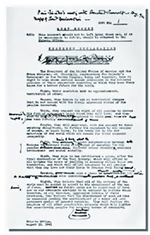 Winston Churchill's draft copy of the Atlantic Charter