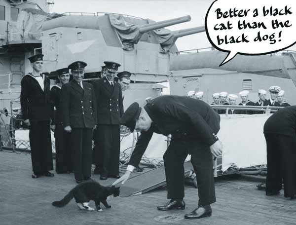 Churchill and Blackie the cat aboard the HMS Prince of Wales, 1941. Ships cats and seafaring felines have born witness to many historic moments.