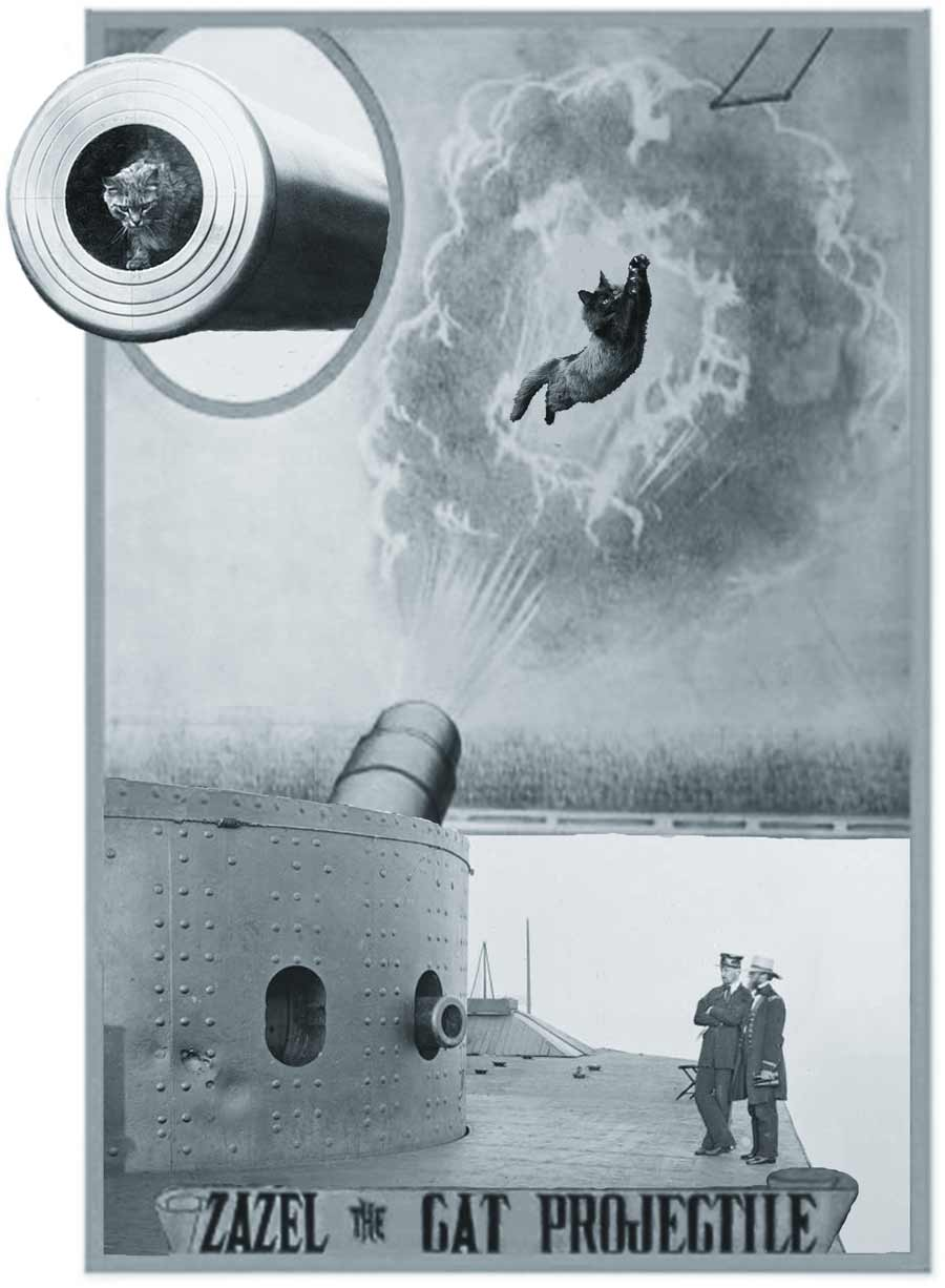Another working day for ships cats and seafaring felines: a fearless mog being fired from a cannon aboard an ironclad whilst two gentlemen look on.