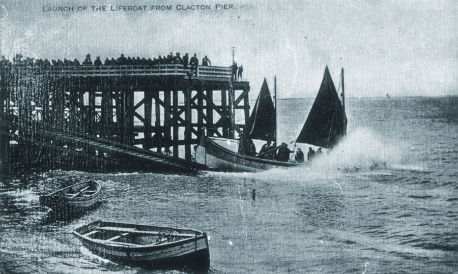 A lifeboat being launched from Clacton Pier