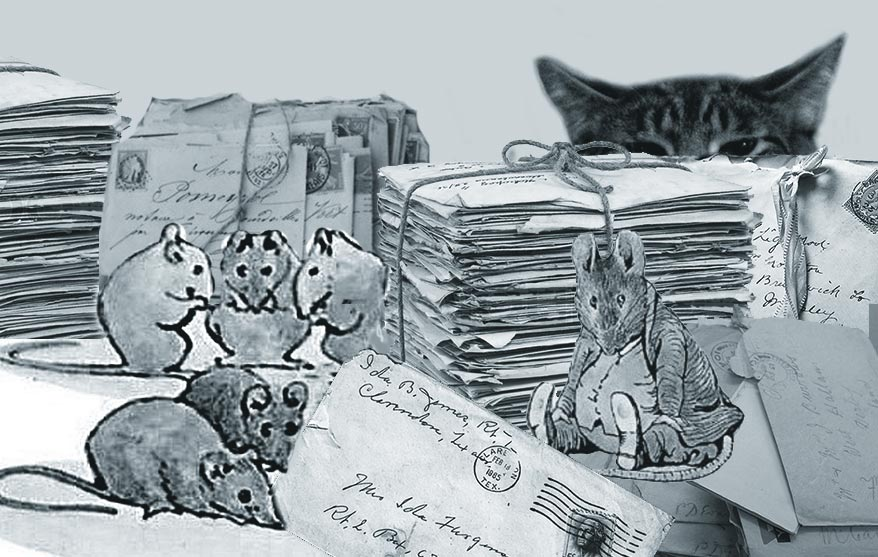 A sly cat watching some mice eating a stack of old letters.
