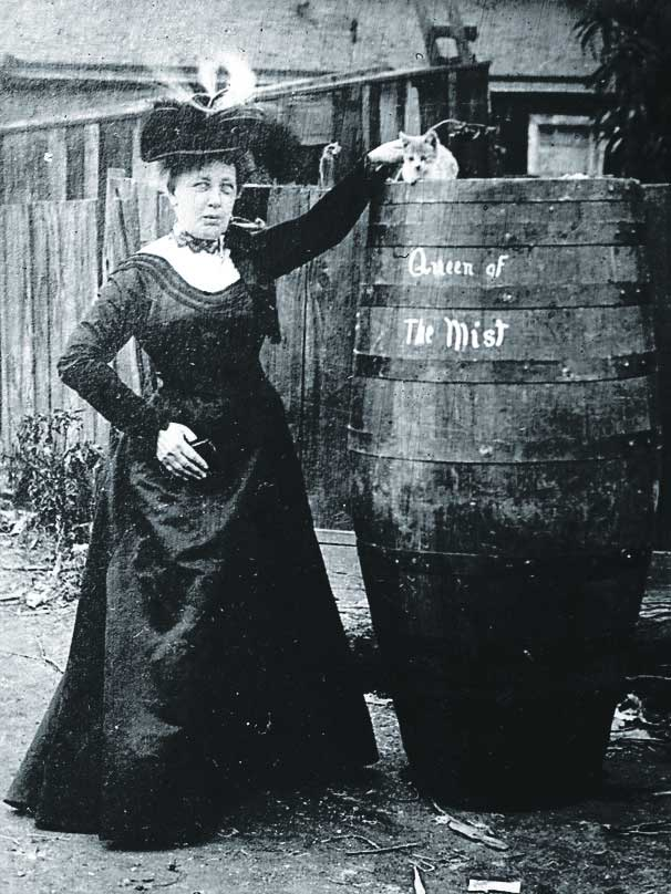 Annie Edson Taylor with her cat and her barrel