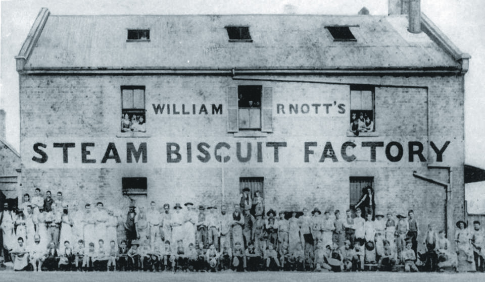 Exterior photo - Formal group portrait of the staff of the William Arnott's Steam Biscuit Factory