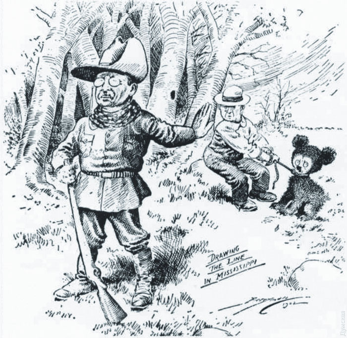 Line drawing of Teddy Roosevelt refusing to shoot a bear