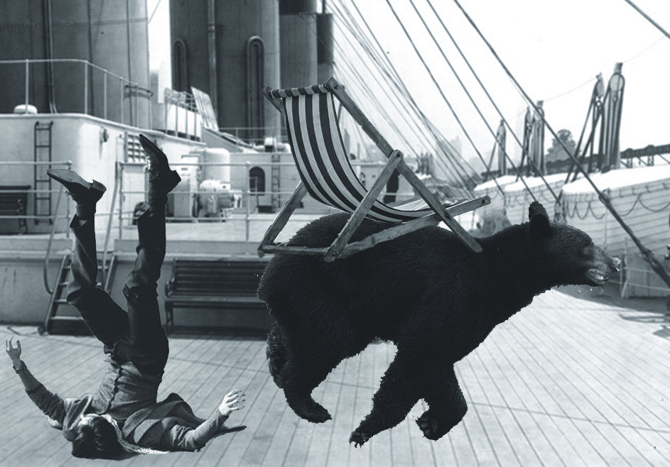 Not a seafaring feline but a rampaging bear, galloping along the deck of a ship, upending deckchairs and crew alike.