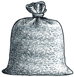 a burlap sack, possibly containing a seafaring feline